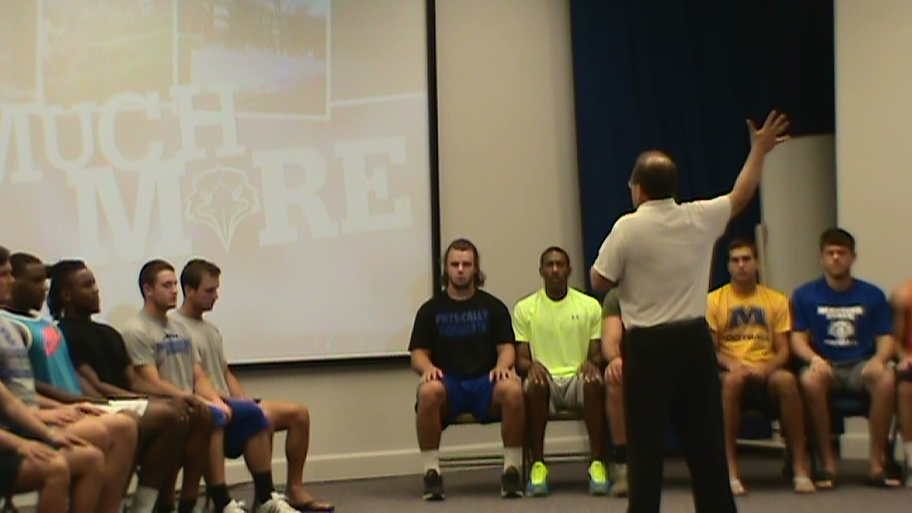 hypnotic induction for college football team  by hypnotist chris cady