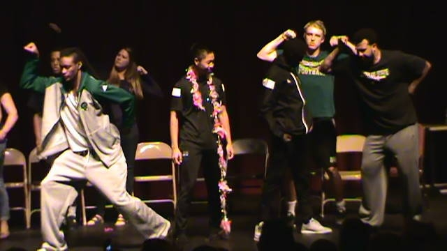 college football team hypnotized humbolt state posing