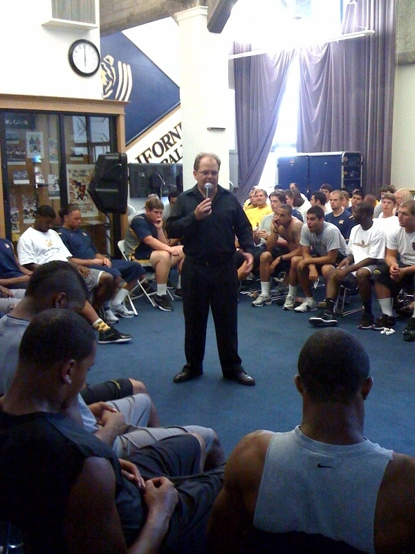 football sports hypnosis hypnotist chris cady hypnotizes cal berkeley football team
